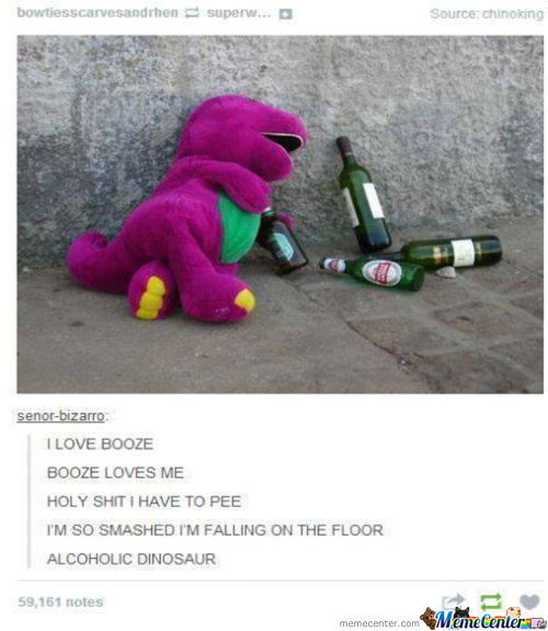 Barney Has Really Gone Down Hill.