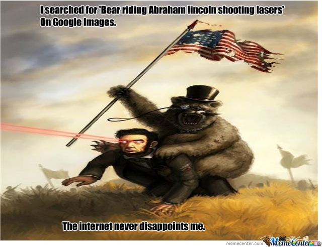 bear riding laser shooting abraham lincoln by recyclebin