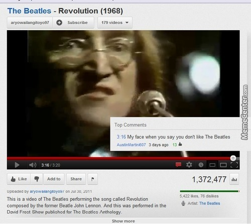Beatles Youtube Comment