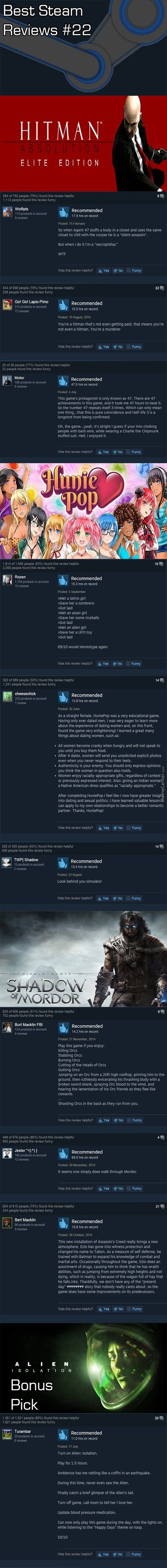Best Steam Reviews #22- Agent 47 Plays Bejeweled To Seduce Animu Grills While Hiding From Spooky Scary Aliens In Mordor
