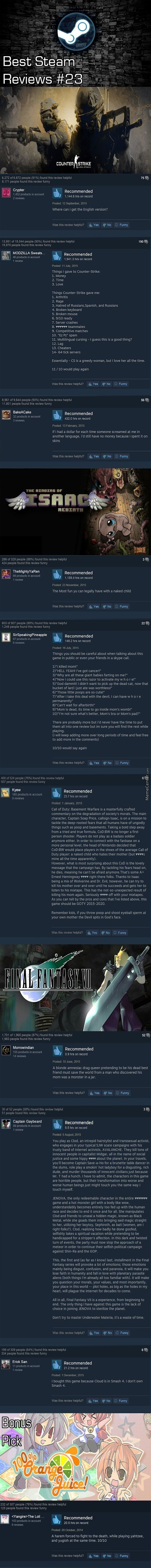 Best Steam Reviews #23- Barcaborn's Last One