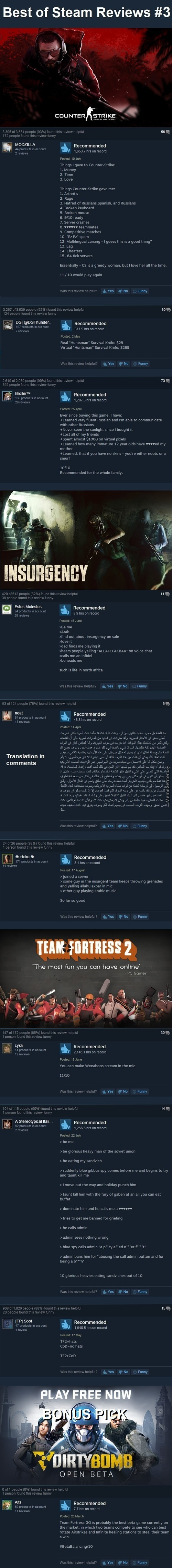 Best Steam Reviews #4 - Competitive Fps