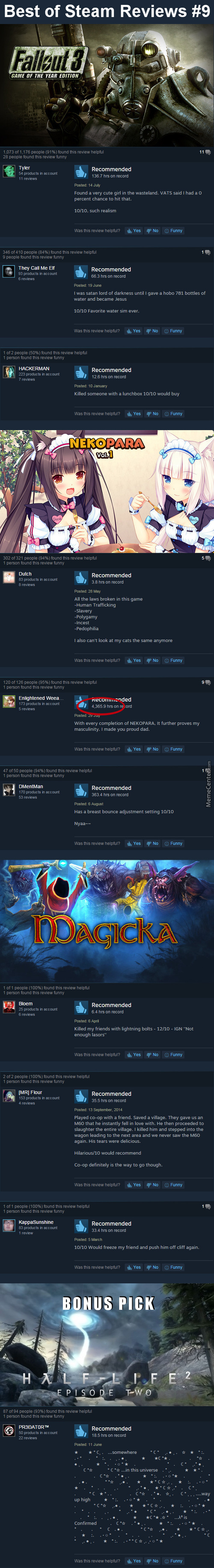 Best Steam Reviews #9 - 3 Reviews Per Game = Hl3 Confirmed