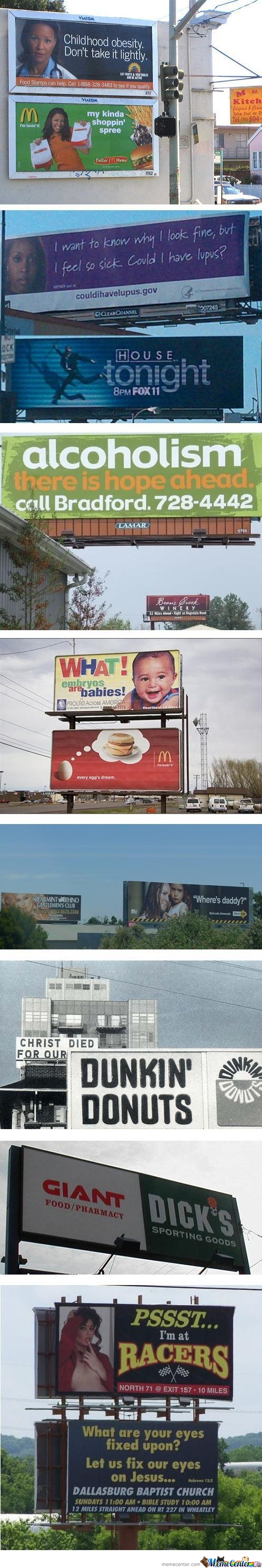 Billboards That Should Never Be Next To Each Other