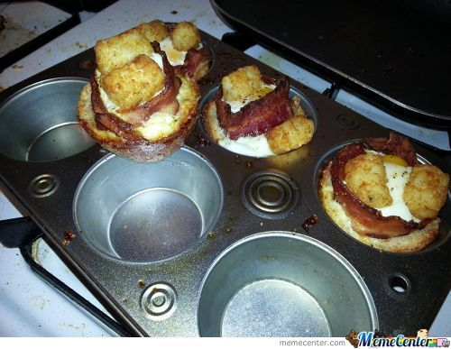 Bread, Cheese, Bacon, Egg, Tots, It's Called  Breakfast Cupcake