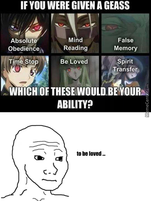 Can't We Use False Memory To Make Someone Love You ? Or Are Feelings Something Outside The Domaine Of Memory ? (An:code Geass )