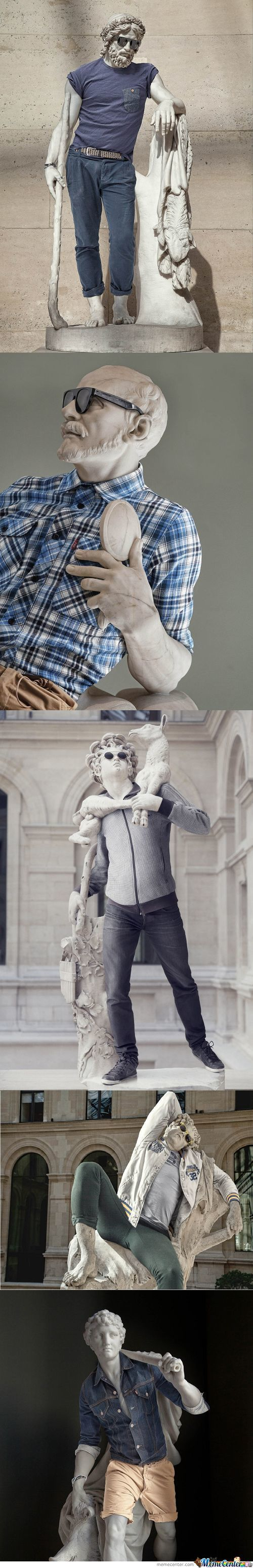 Classical Sculptures Dressed As Hipsters