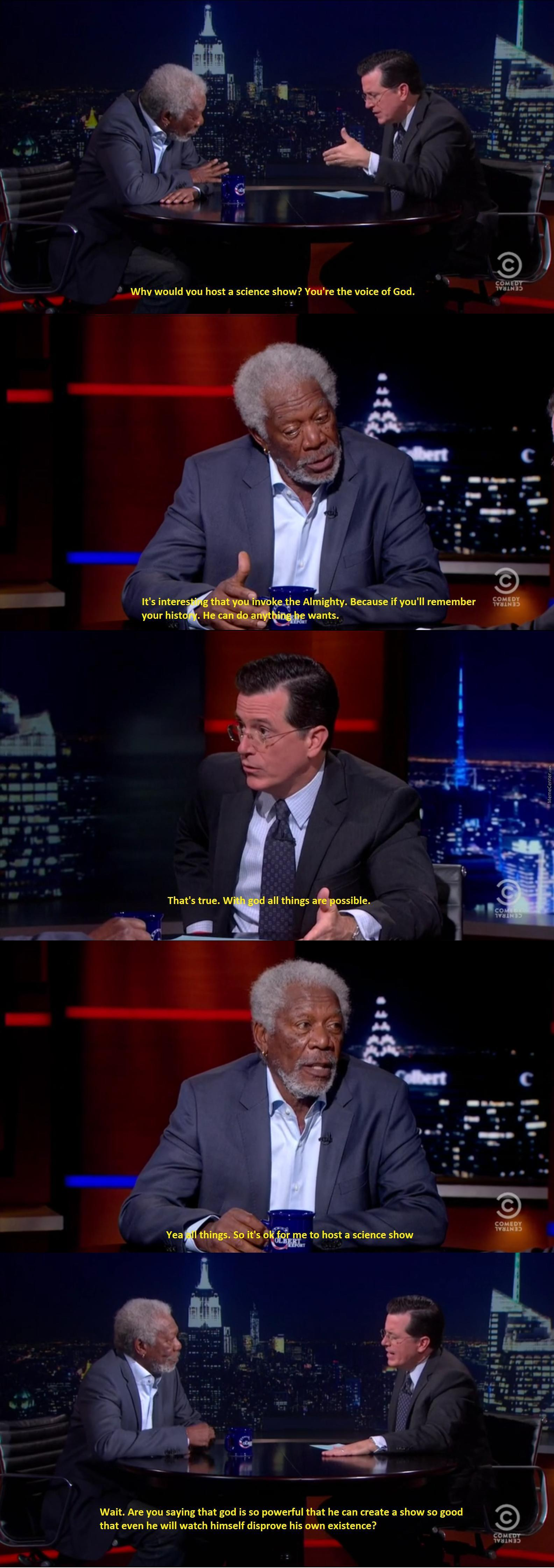 "Colbert Interviewing Morgan Freeman On ""through The Wormhole"""