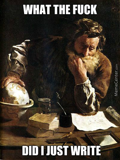 Confused Archimedes. Kinda Like Me On Essays.