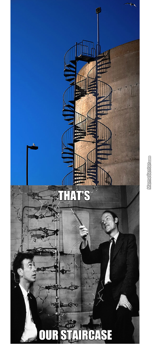 Context- The 2 Guys In The Bottom Panel Are The Ones Who Discovered The Molecular Structure Of Dna Which Is A Double-Helix Shape As Shown
