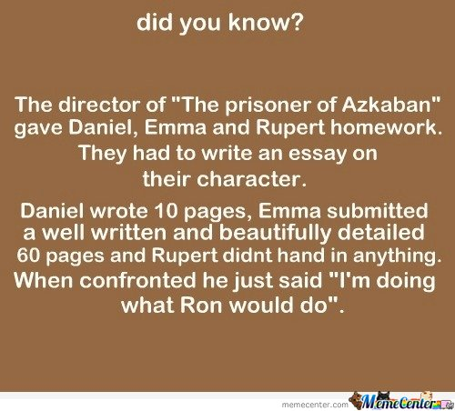Daniel, Emma  and Rupert had to write an essay on their character