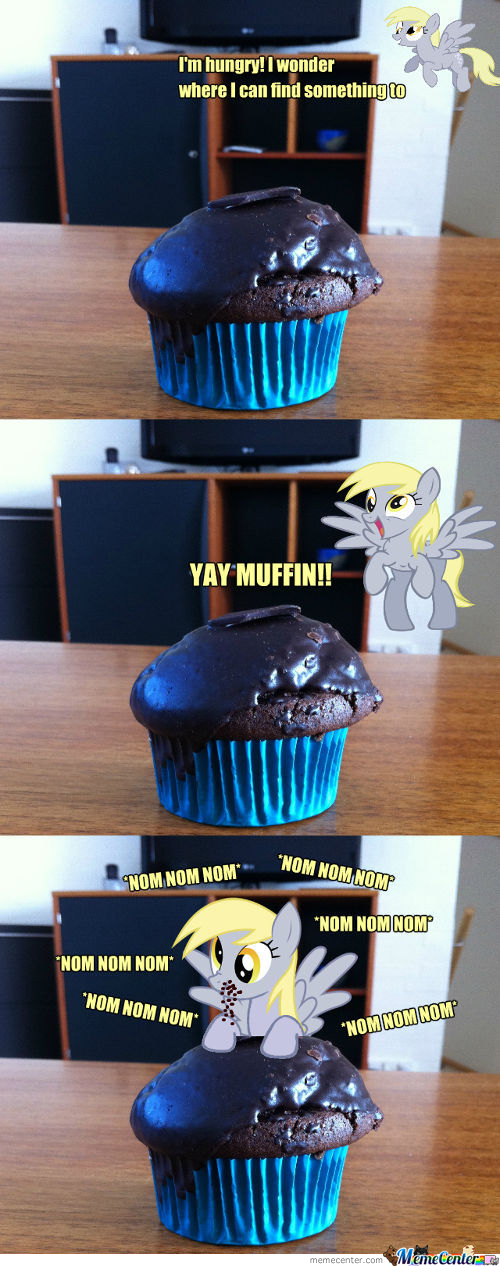 Derpy Hooves Finds A Chocolate Muffin.