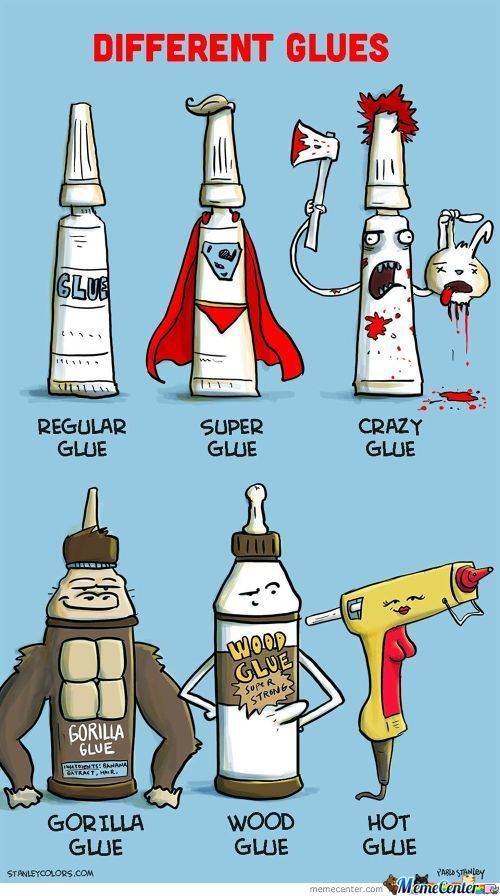 Different Kinds Of Glues.