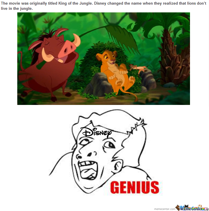 Disney...what A Genius Title,but Lions Don't Live In Jungle.