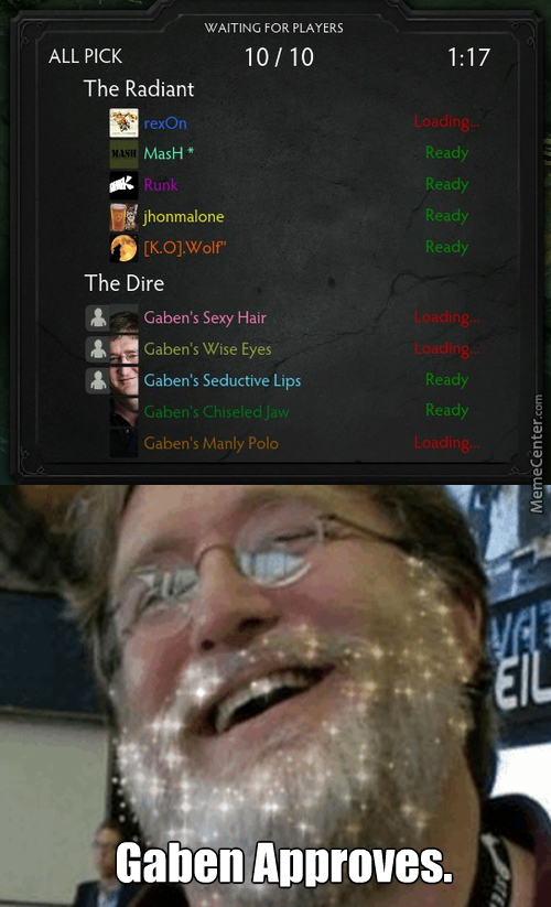 Dota 2 When Suddenly Team Gaben Appears!