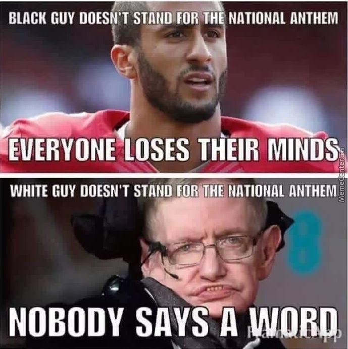 double standards these days_o_6930247 breaking news colin kaepernick announces he will stand during