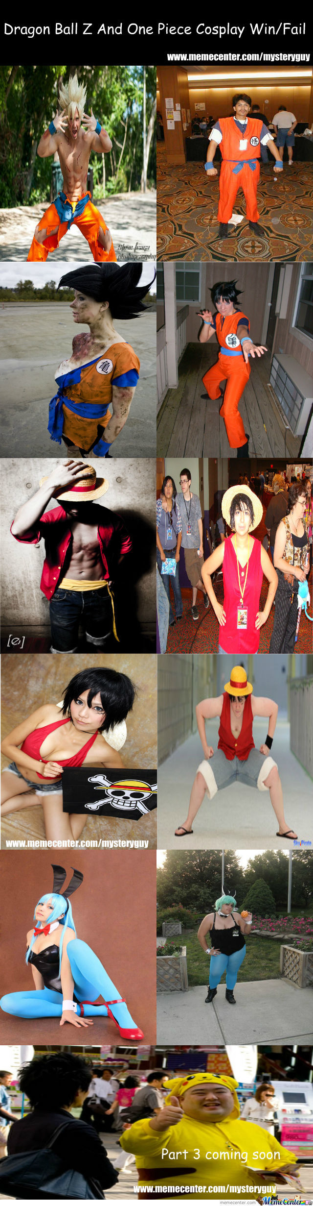 Dragon Ball Z And One Piece Cosplay Win/fail