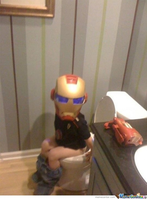 Even Ironman needs a potty break