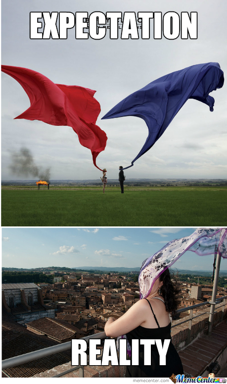 Expectation Vs Reality - Wind And Scarves