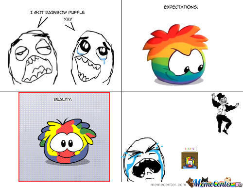 Expectations Vs Reality - Rainbow Puffles