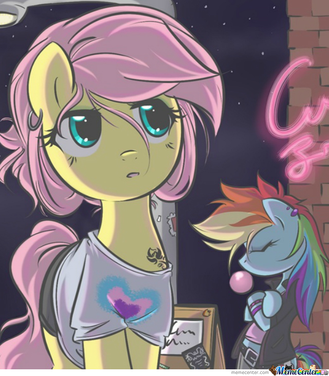 Fluttershy and rainbow dash in the city by calli meme center