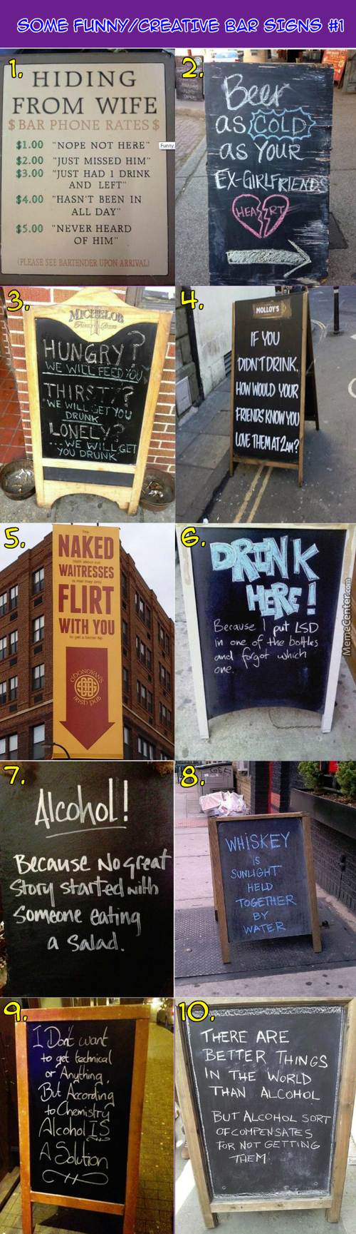Funny / Creative Bar Signs #1: When Chemistry Is Applied, Beer Is A Solution!