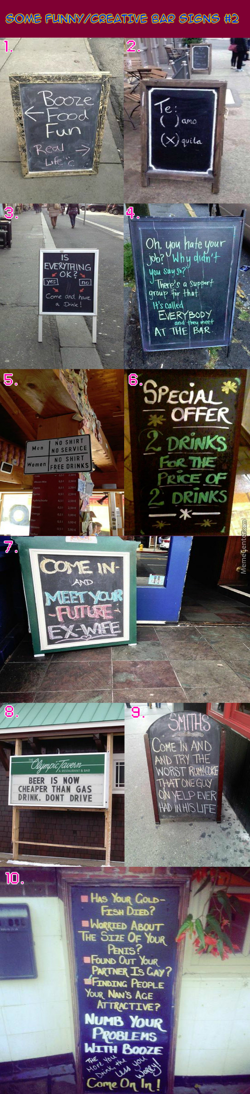 Funny / Creative Bar Signs #2: Wow! Two Drinks For The Price Of Two Drinks? How Cool Is Tha..... Wait A Minute......