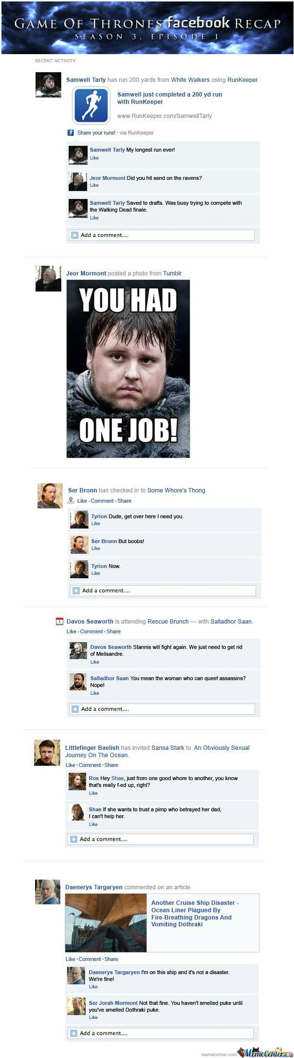 Game Of Thrones S3E1 Facebook Recap