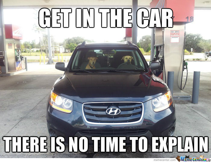 Get In The Car, There Is No Time To Explain