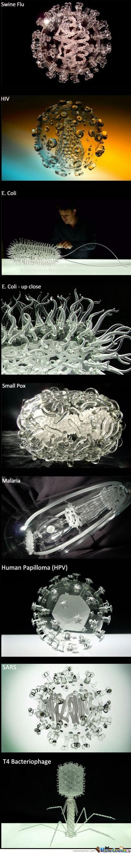 Glass Sculptures Of Diseases