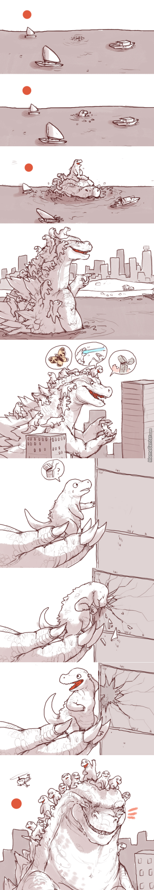 Godzilla Taking His Kids Out