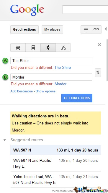 Google Does Not Simply Let You Try To Walk Into Mordor Unwarned.