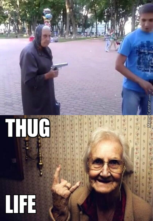 Grandma.... Why Do You Have A Gun.. Grandma Pls. Grandma Stahp. D: