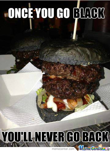 Grilled Burger With Charcoal Bread