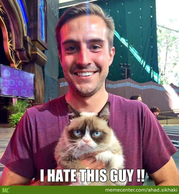 Grumpy Cat And Ridiculously Photogenic Guy