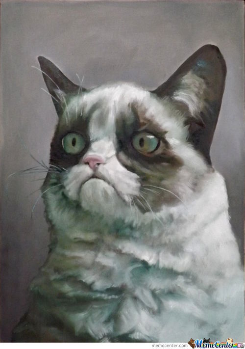 Gumpy Cat Oil Painting