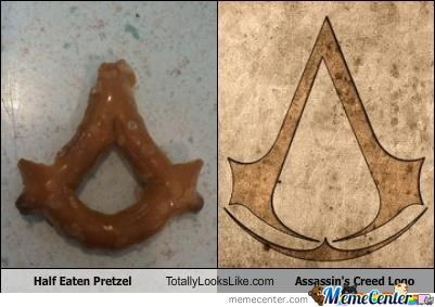 Half Eaten Pretzle And Assassin's Creed