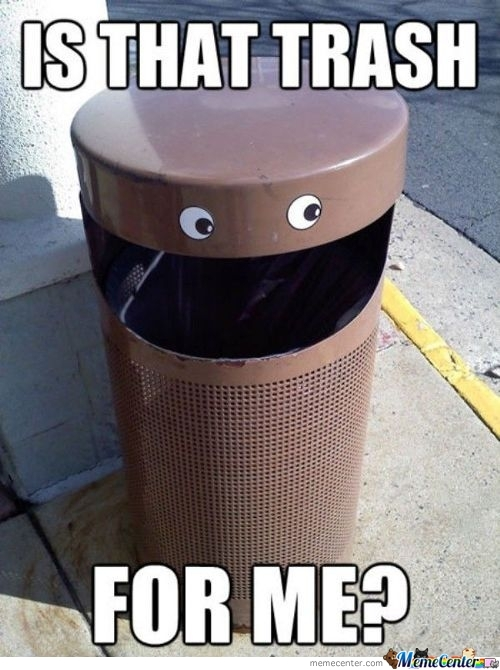 Happy Trash Can Is Happy