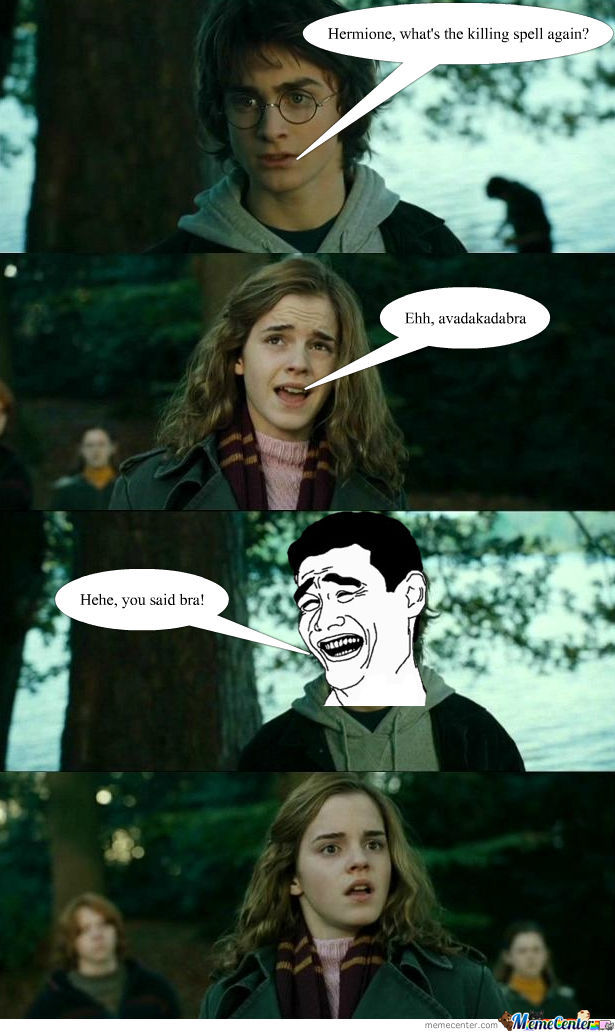 Funny Harry Potter And Hermione Memes : Harry trolls hermione by l ghtsaber meme center