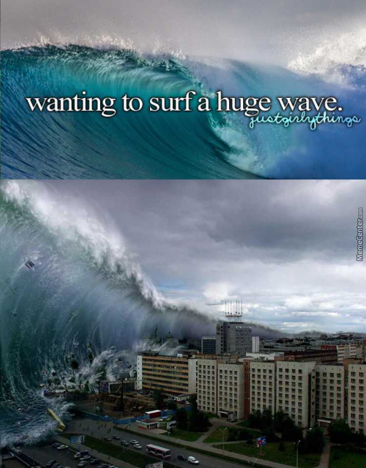 Have Fun Surfing A Giant F*cking 100 Foot Wave. Baka. I Hope You Bail And Rib-Cage It