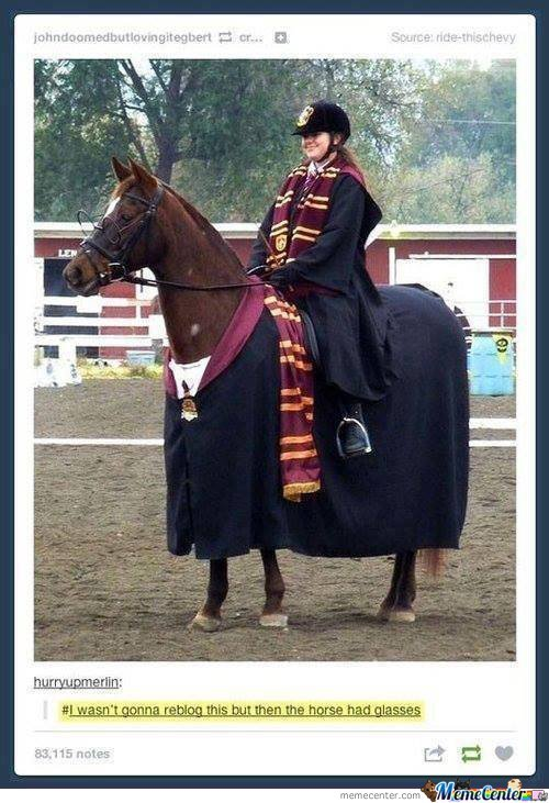 Hermione Riding Horsy Potter...