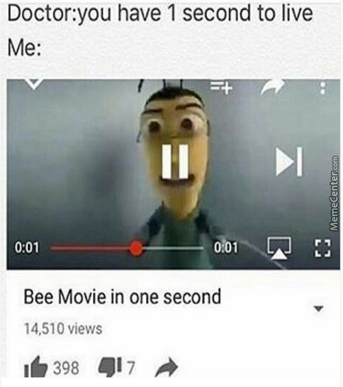 Him: I've Got One Second To Live! Me: Don't Bee So Sad!