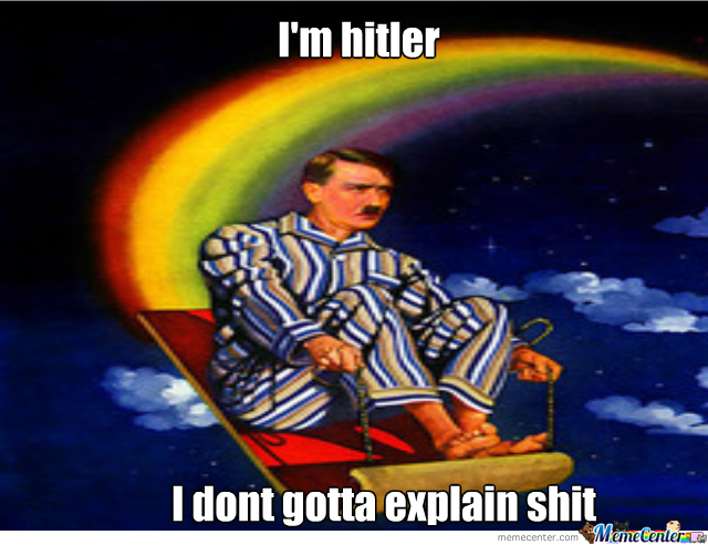 Hitler Riding A Magic Carpet That Shoots Out Rainbows By