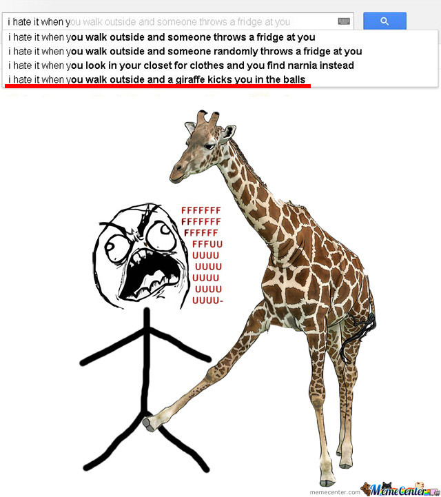 I Hate It When You Walk Outside And A Giraffe Kicks You In The Balls