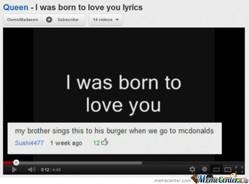 I Was Born To Love You Burger!