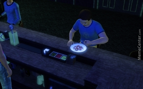 I Was Playing The Sims 3 Recently, And I Decided To Have My Sim Order Onion Rings..... Wtf Maxis??!! No One Eats Onion Rings With A Fork!!!