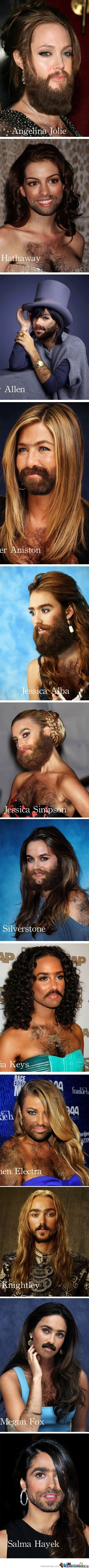 Imagine Your Favorite Celebrity With A Full-Faced Beard! There You Go...