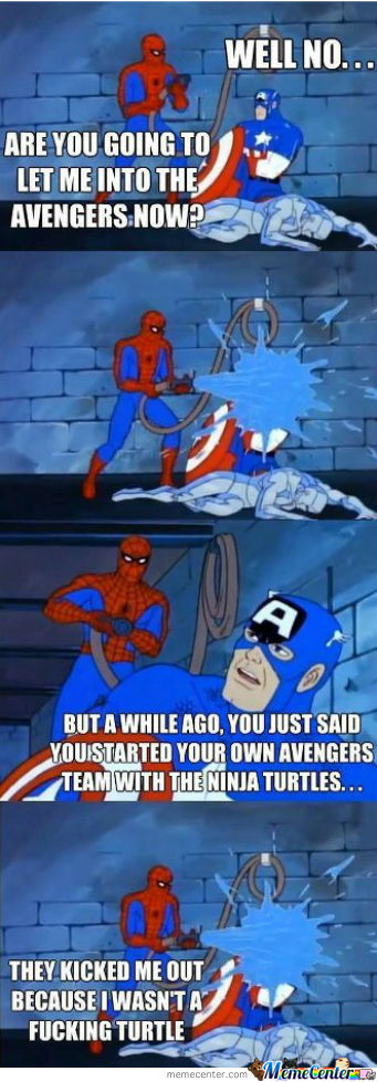 It Didn't Look Like The Ninja Turtles Were Too Keen To Let Spidey In.