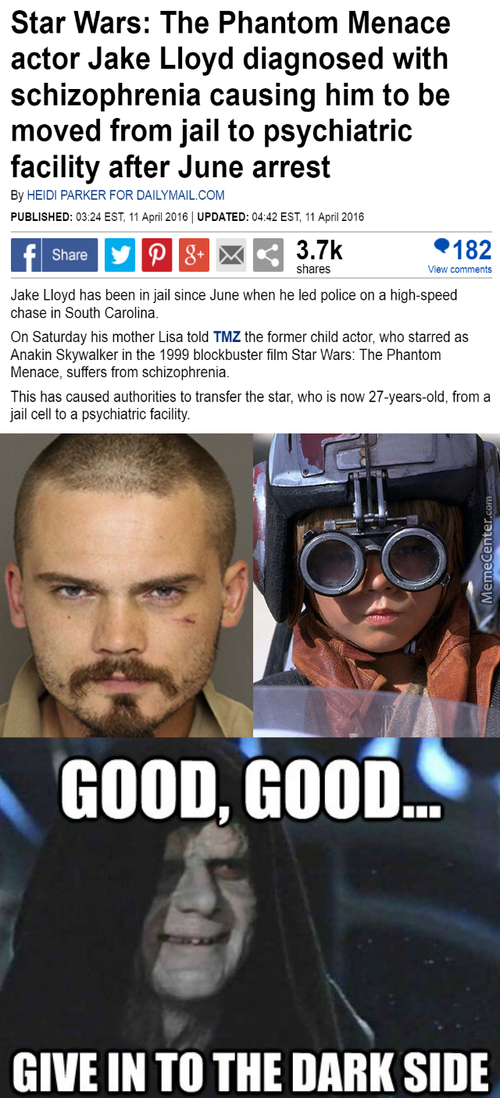 Jake Lloyd = Darth Vadar, George Lucas = Darth Sidious