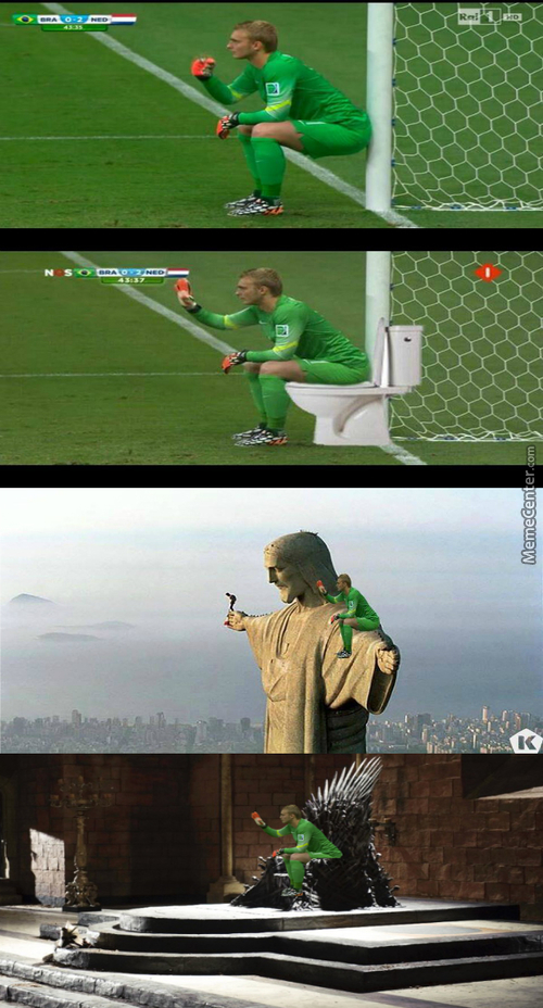 Jasper Cillessen Gets Treatment After Having A Sit Down During Holland V Brazil
